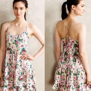 Anthropologie Eloise Lila Floral Chemise Dress XS